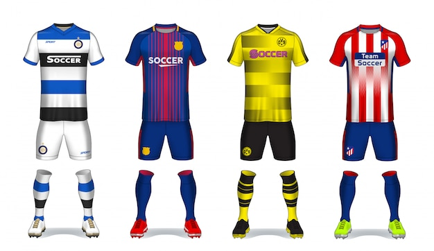 Satz der fußballausrüstung, sportt-shirt design. Premium Vektoren