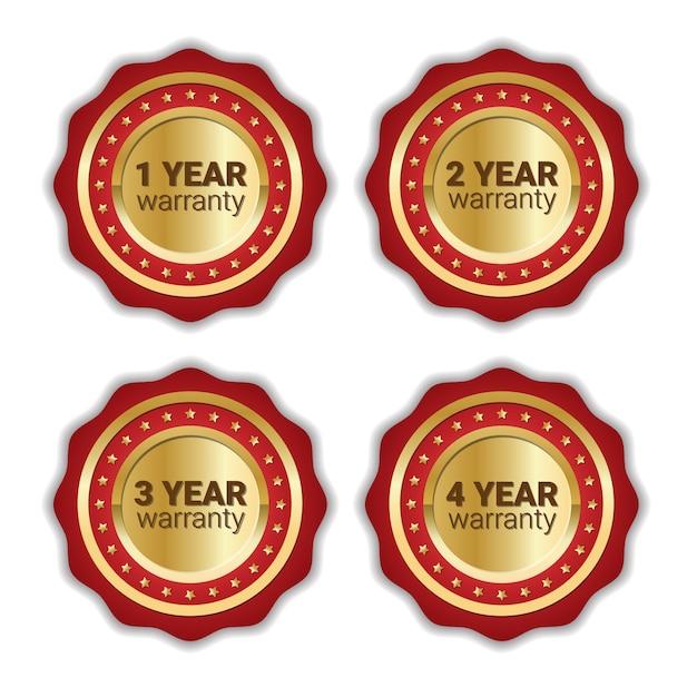 Satz der garantie-ausweis-goldenen emblem-sammlung lokalisiert Premium Vektoren
