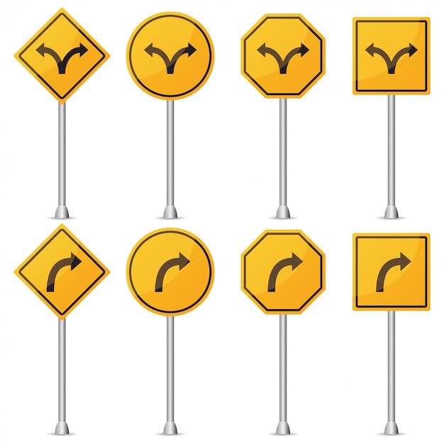 Satz der gelben verkehrszeichendrehung. vektor-illustration Premium Vektoren