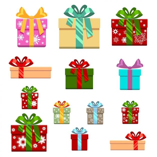 Satz der geschenkbox flach und der karikaturart Premium Vektoren