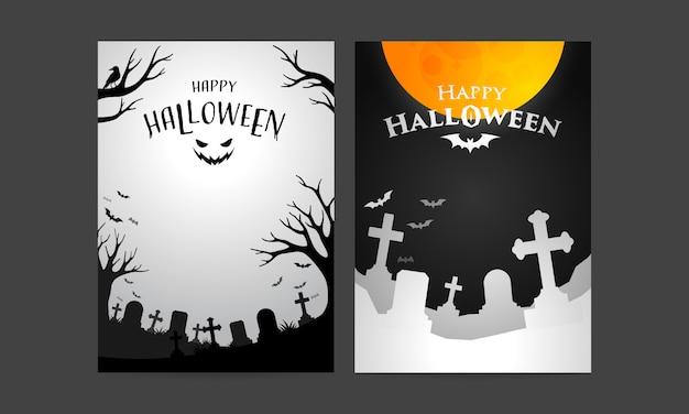 Satz der glücklichen halloween-abdeckungsschablone Premium Vektoren