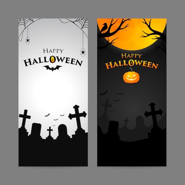 Satz der glücklichen halloween-vertikalenfahne Premium Vektoren