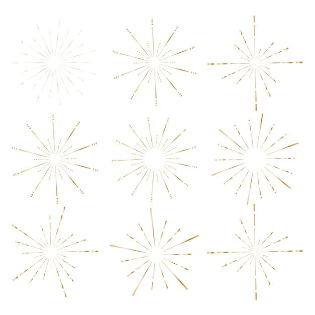 Satz der goldenen sonnendurchbruchart lokalisiert auf weißem hintergrund. Premium Vektoren