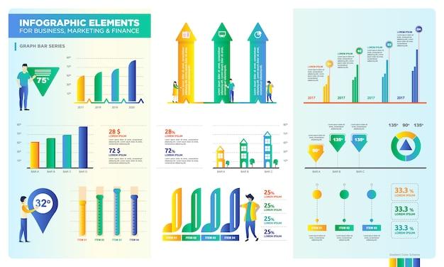Satz der grafikleiste für digitale ressourcen, datenpräsentation für unternehmen oder marketing Premium Vektoren