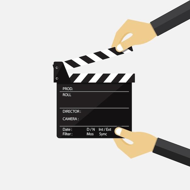 Satz der hand film clapperboard halten. Premium Vektoren