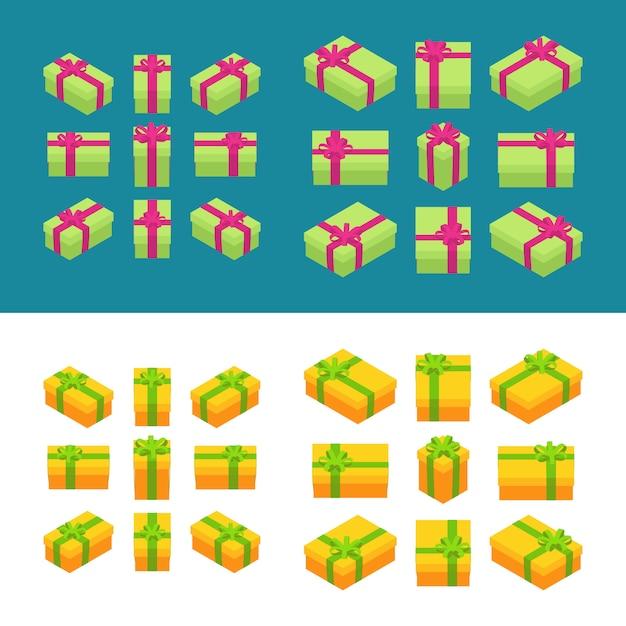 Satz der isometrischen farbigen geschenkkästen. die objekte werden isoliert und von verschiedenen seiten dargestellt Premium Vektoren