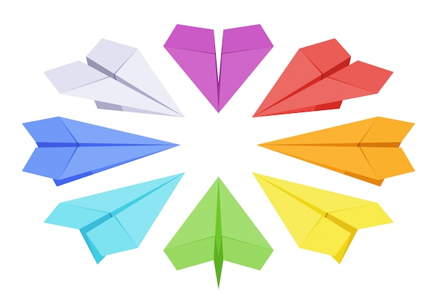 Satz der isometrischen farbigen papierebenen Premium Vektoren