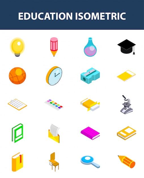 Satz der isometrischen ikone der bildung auf weiß Premium Vektoren
