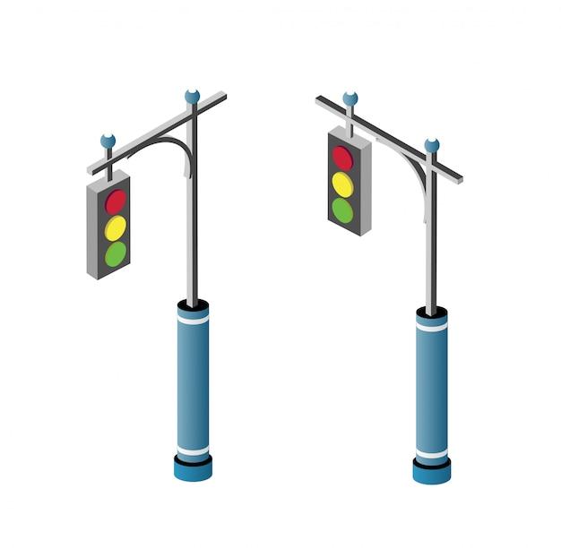 Satz der isometrischen stadtstraße Premium Vektoren