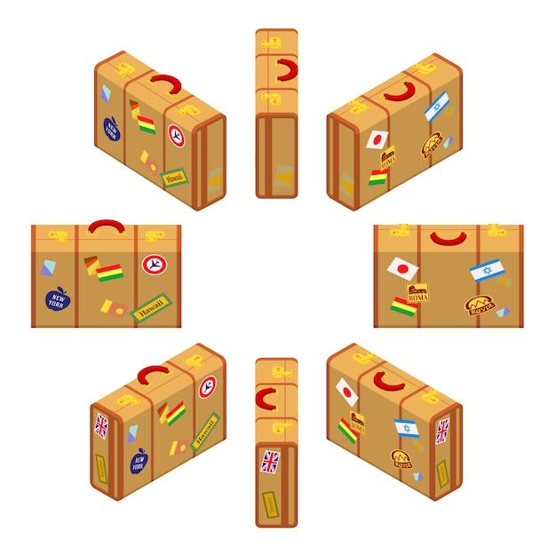 Satz der isometrischen stehenden gelben reisendenkoffer. Premium Vektoren