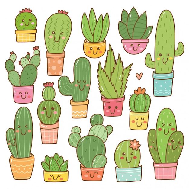 Satz der kaktuspflanze in kawaii Premium Vektoren