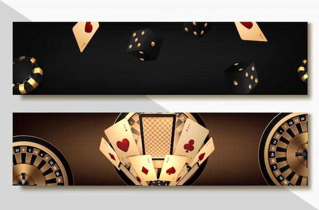 Satz der kasino-fahne stellte mit kasino-chips und karten, pokerclub texas holdem ein Premium Vektoren
