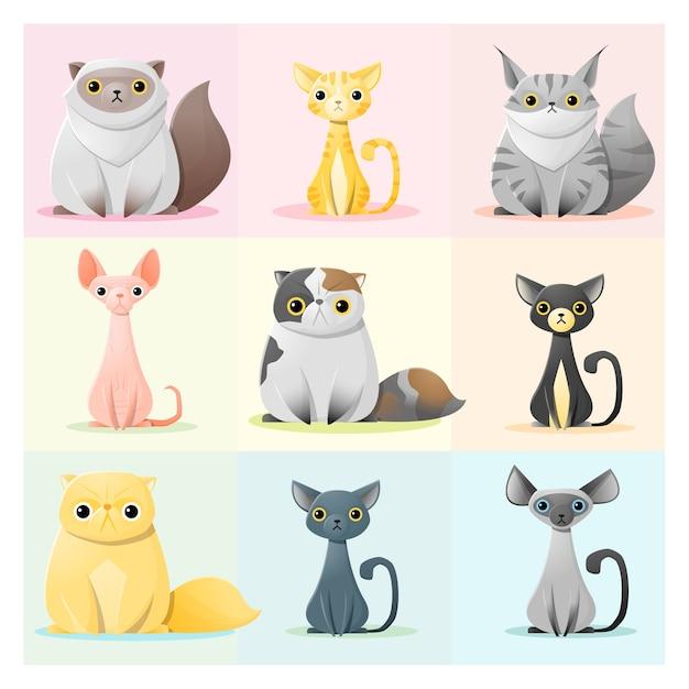 Satz der katzenfamilie Premium Vektoren