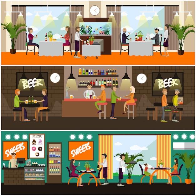 Satz der kneipen- und restaurantkonzeptillustration, flache art Premium Vektoren