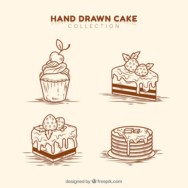 Satz der köstlichen gezeichneten art der kuchen in der hand Kostenlosen Vektoren