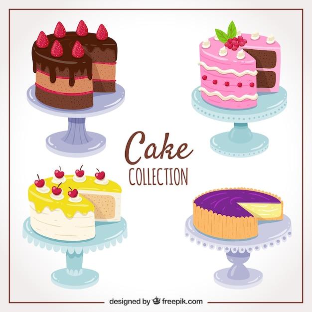 Satz der köstlichen gezeichneten art des kuchens in der hand Kostenlosen Vektoren