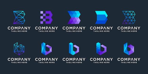 Satz der kreativen buchstaben-b-logo-design-sammlung. Premium Vektoren
