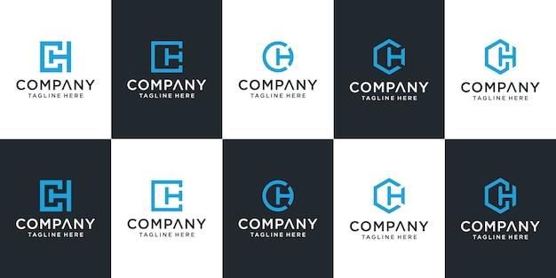 Satz der kreativen buchstaben-ch-logo-vorlage Premium Vektoren
