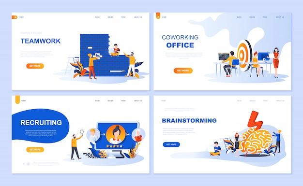 Satz der landingpage-vorlage für teamwork, rekrutierung, brainstorming, coworking office Premium Vektoren