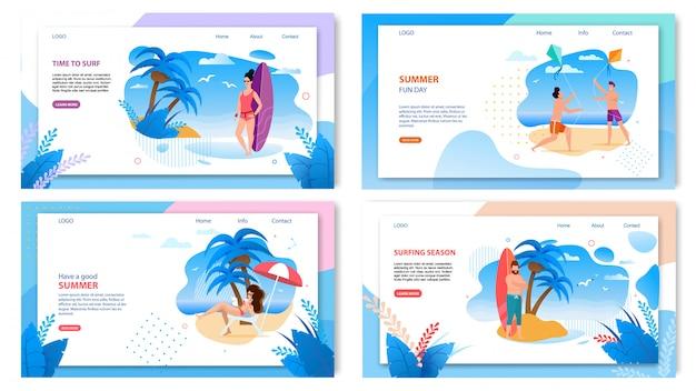 Satz der landingpage-webvorlage für active summer tropic vacation Premium Vektoren