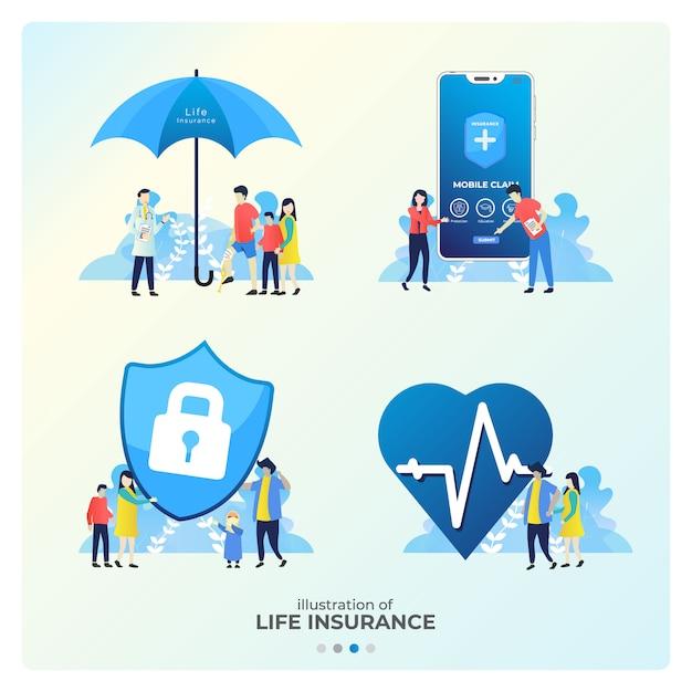 Satz der lebensversicherungs-illustration Premium Vektoren