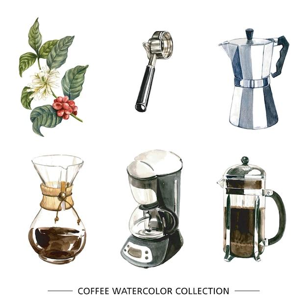 Satz der lokalisierten aquarellkaffeemaschine Kostenlosen Vektoren