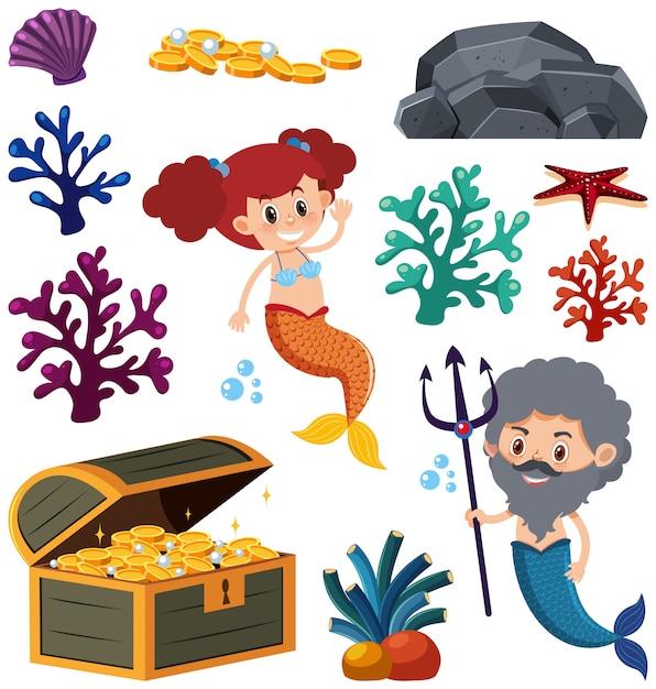 Satz der lokalisierten meerjungfrau und der koralle Premium Vektoren