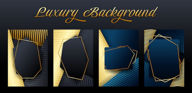 Satz der luxuselement-hintergrundschablone Premium Vektoren