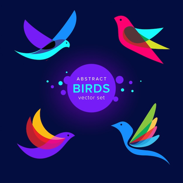 Satz der modernen abstrakten vogellogoschablone Premium Vektoren