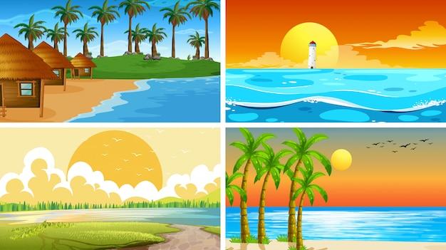 Satz der naturszene oder -hintergründe des tropischen ozeans mit stränden Kostenlosen Vektoren