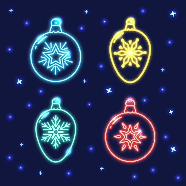 Satz der neonweihnachtsflitterlinie ikonen Premium Vektoren