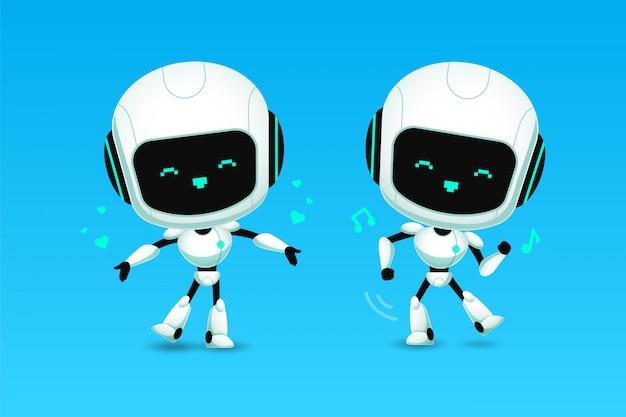 Satz der netten roboter-ai-charakterliebe und der tanzaktion Premium Vektoren