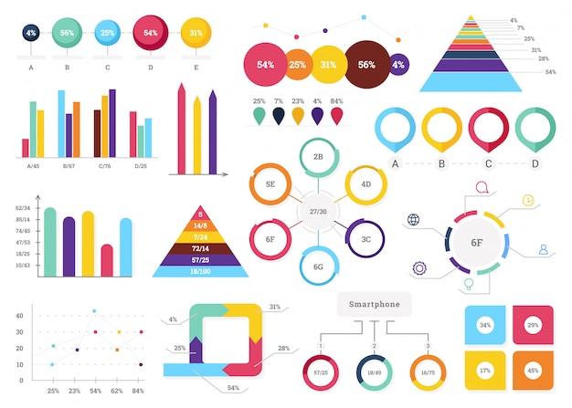 Satz der nützlichsten infografik-elemente - balkendiagramme, kreisdiagramme, schritte und optionen Premium Vektoren