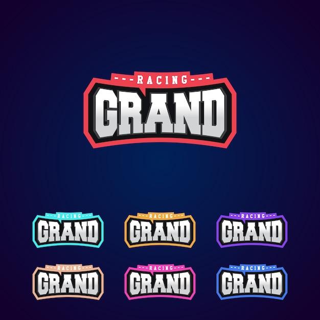 Satz der power voller grand racing typografie logo emblem design für t-shirt Premium Vektoren