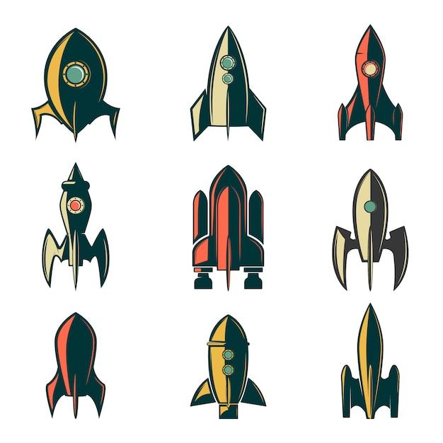 Satz der raketensymbole. element für logo, etikett, emblem, zeichen, markenzeichen. illustration. Premium Vektoren
