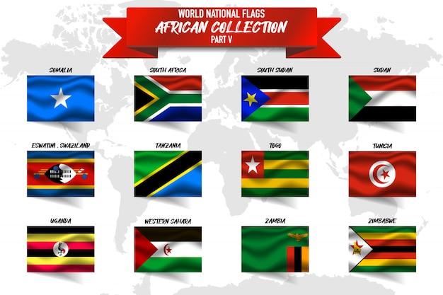 Satz der realistischen wehenden nationalflagge der afrikanischen länder auf der weltkarte. somalia, südafrika, sudan, sambia, simbabwe und andere Premium Vektoren