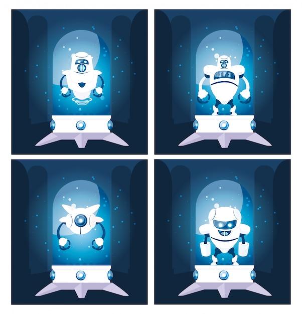 Satz der roboterkarikatur über blau Premium Vektoren