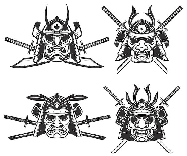 Satz der samurai-maske mit gekreuzten schwertern auf weißem hintergrund. elemente für, etikett, emblem, zeichen, markenzeichen. illustration. Premium Vektoren