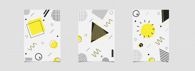 Satz der schablone oder des fliegers mit dem abstrakten geometrischen element verziert auf weiß. Premium Vektoren