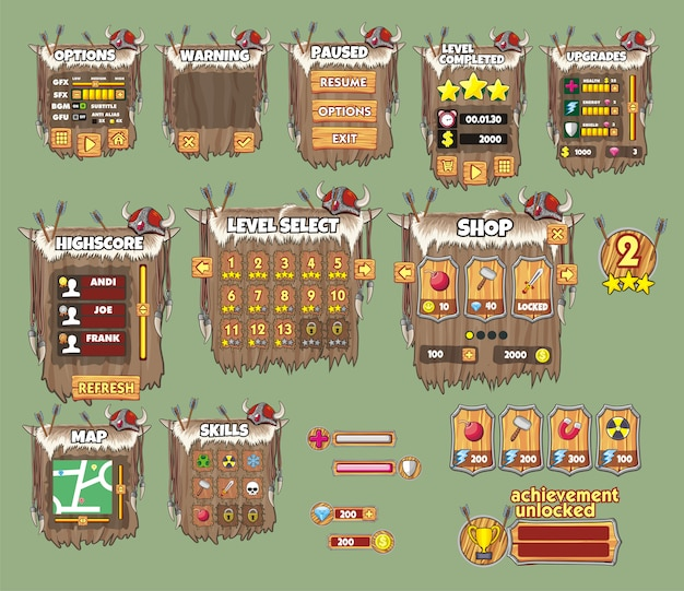 Satz der spielschnittstelle für wikinger-spiel Premium Vektoren