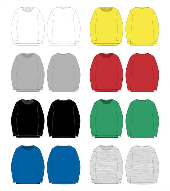 Satz der technischen skizze für mannsweatshirt. vorder- und rückansicht. Premium Vektoren