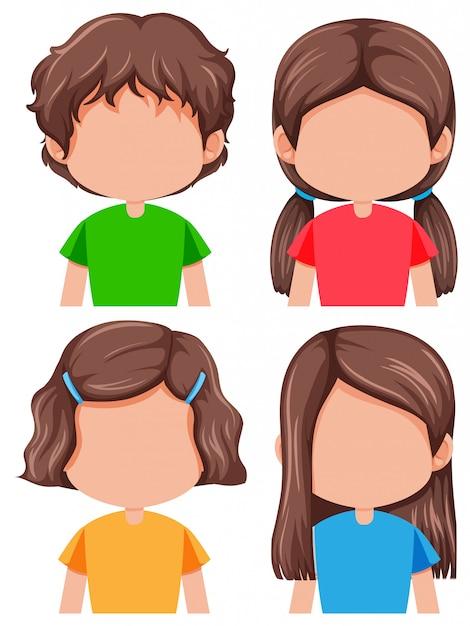 Satz der unterschiedlichen frisur des brunettemädchens Kostenlosen Vektoren