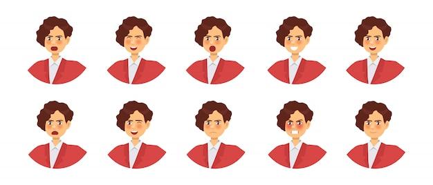 Satz der weiblichen figur der verschiedenen gefühle. emoji mit verschiedenen gesichtsausdrücken. Premium Vektoren