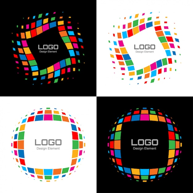 Satz des abstrakten hellen halbton-logos. vektor Premium Vektoren