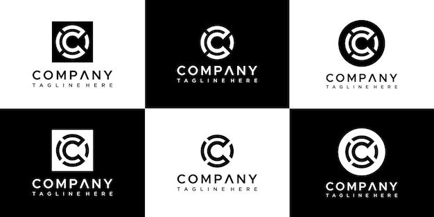 Satz des abstrakten monogrammbuchstaben c logoentwurfs. Premium Vektoren