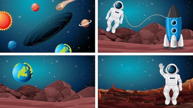 Satz des astronauten im raumhintergrund Premium Vektoren