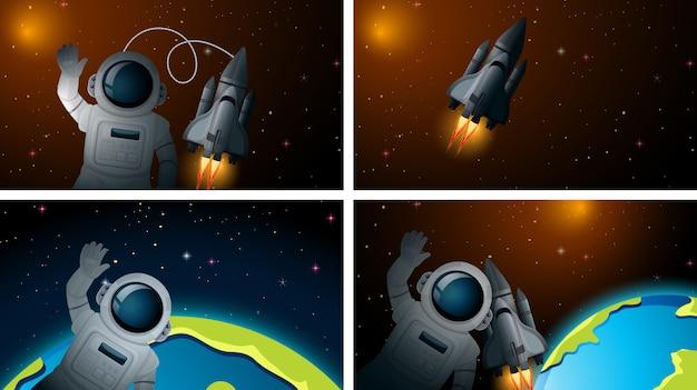 Satz des astronauten im raumhintergrund Kostenlosen Vektoren