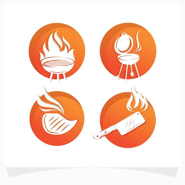 Satz des bbq-steak-grill-haus-logos Premium Vektoren
