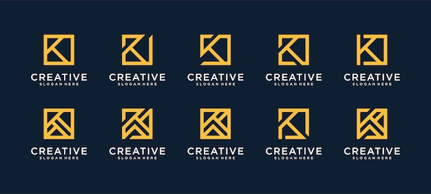 Satz des buchstaben-k-logos im quadratischen stil Premium Vektoren