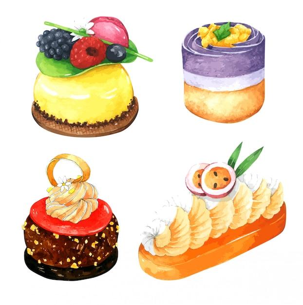 Satz des bunten kuchens im aquarell Premium Vektoren